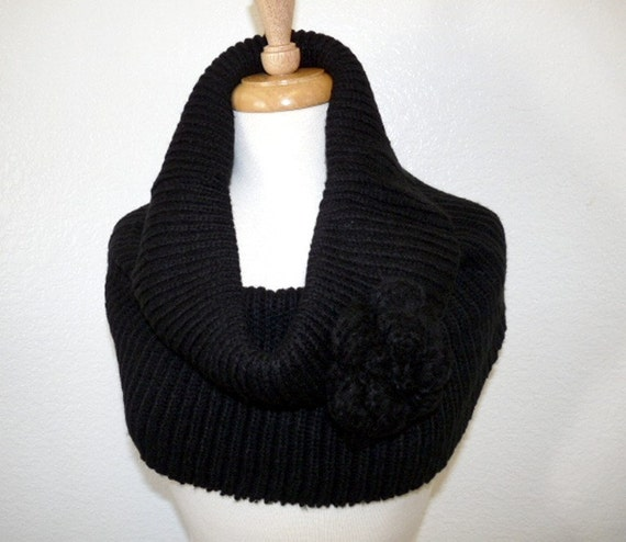 Black Infinity Scarf Knit Cowl with Crochet Flower Circle Scarf