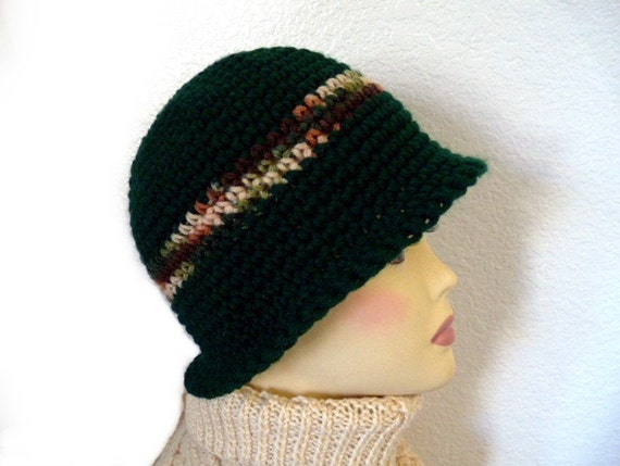 Chunky Crochet Hat Forest Green Winter Hat Womens hat