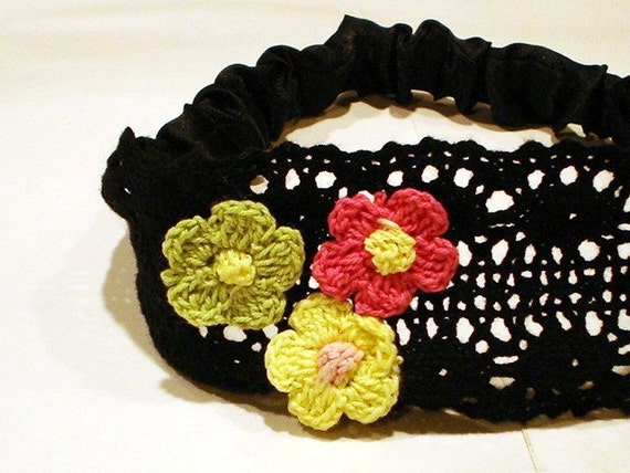 Lace Headband Ear Warmer Crochet Flower Black Bridal Wedding