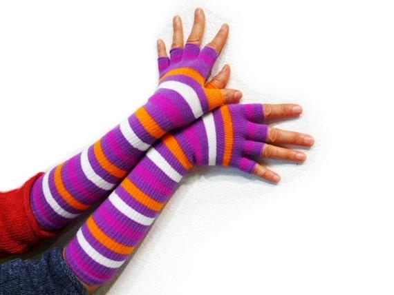 Striped Fingerless Gloves Goth,  Steampunk, Bohemian, Tribal, Purple,Orange, White, Half Finger, Long