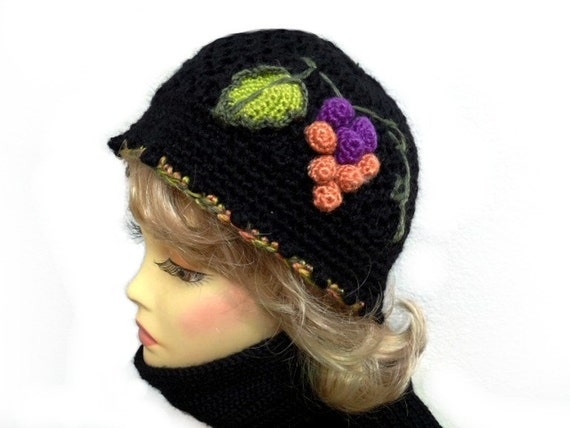 Crocheted Hat and Scarf Set Black Hat - Crochet Grape  Beanie Warm Winter Fashion