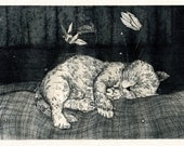 Cat Dreams Original Etching