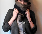 Navy and Taupe Cowl Scarf