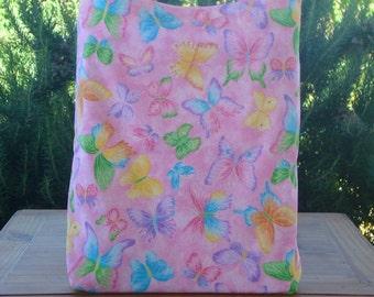 Multicolored Butterflies on Pink Kid's Reversible Tote Bag