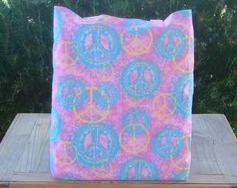 Peace Signs in Pastel Reversible Tote Bag