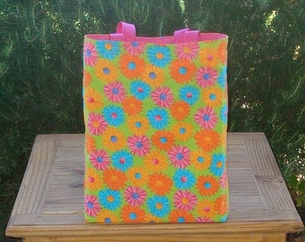 Crazy Daisy in Pink Reversible Girl's Tote Bag
