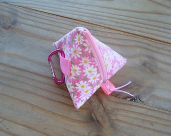 Dog Treat Pyramid Pouch Hip Bag with Belt Loop and Carabiner Clip in a Pink Daisies and Dots Print