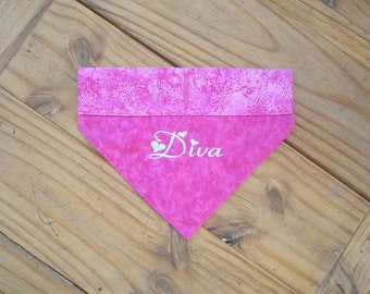 Embroidered Dog Bandana in a Pink Diva Print - Medium
