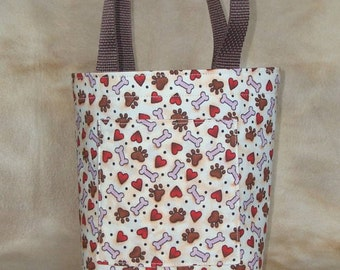 Dog Accessory Tote in a Fido Fun Dog Paw, Bone and Heart Calico Print