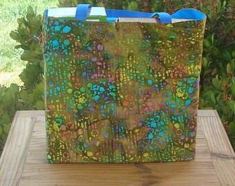 Multicolored Design on Olive Batik Print Reusable Shopping Tote Bag