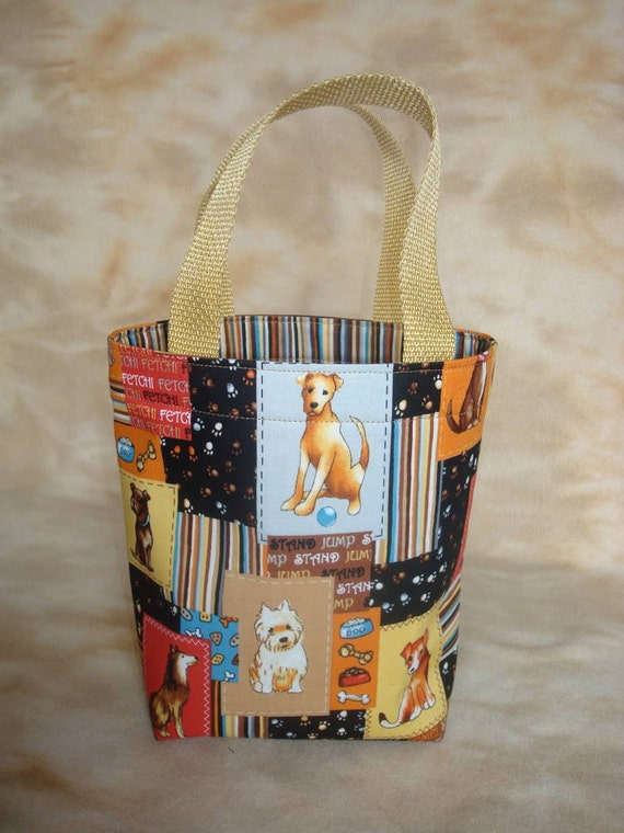 Dog Accessory Tote in a Fido Fun Brown Patchwork Doggy Print