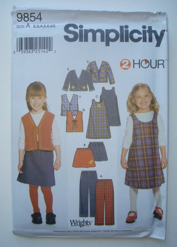 Simplicity 9854 - Sewing Pattern for Girls Pants, Skirt, Jumper and Jacket or Vest in Sizes 2, 3, 4, 5, 6, 6X- New and Uncut