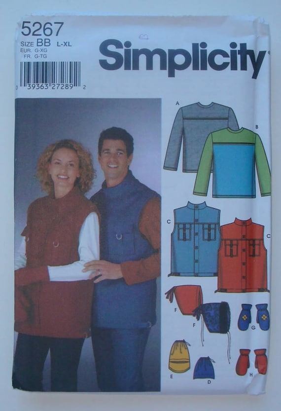 Simplicity 5267- Sewing Pattern for Misses', Men's and Teens Vest, Fleece Accessories and Knit Top Size L-XL - New and Uncut