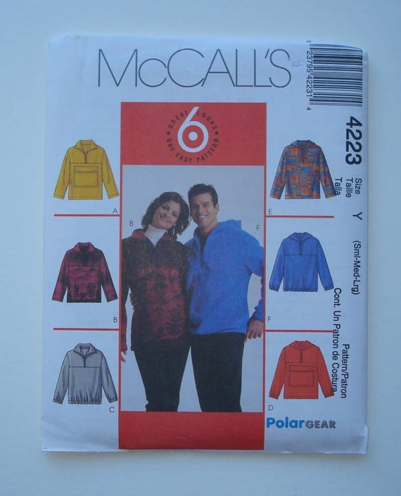 McCalls 4223 - Sewing Pattern for Misses' and Men's Pullover Tops Sizes S, M, L - New and Uncut