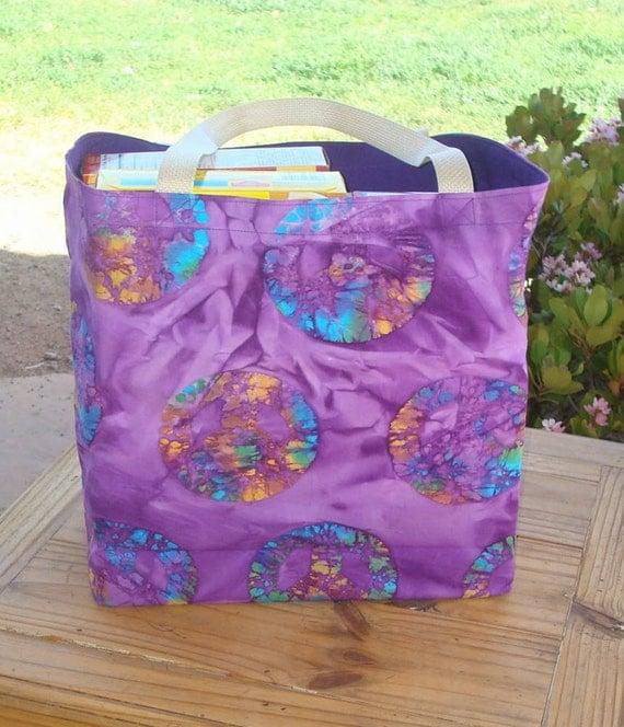 Purple Multicolored Peace Signs Batik Print Reusable Shopping Tote Bag