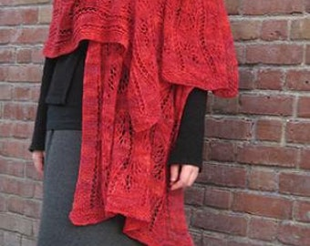 ruby red lace wrap in merino wool