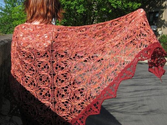 burgundy orange shawl in merino silk and bamboo (Elementals II - Fire)