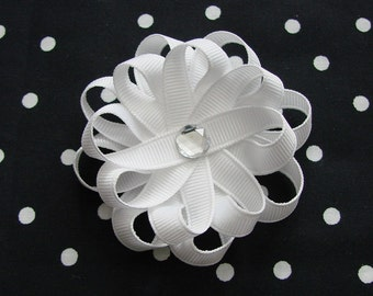 Solid White Ribbon Daisy Flower Hair Clip Hair Bow