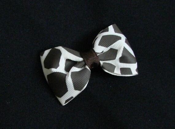 Brown Ivory Giraffe Print Basic BowTie Hair Bow Hairbow
