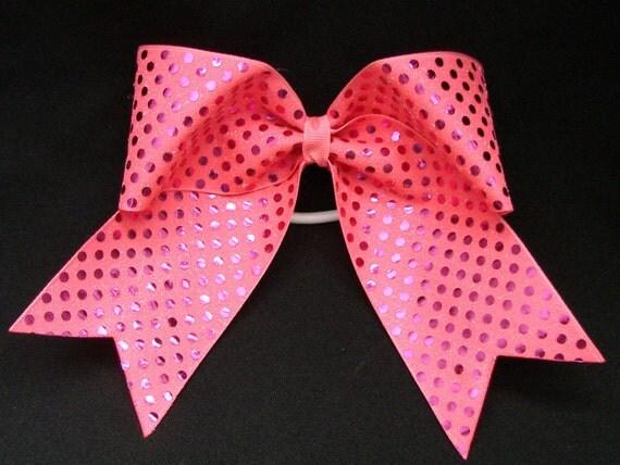 Custom Cheerleader Solid Neon Pink Sequin Cheer Hair Bow