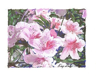 Azaleas - SPRING - Handmade Print - Watercolor - Prisma Pencil Reworked Print  by Will Kay Studios on Etsy