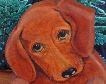 Custom PET PORTRAIT - Dachshund - Handmade - Door Topper by Will Kay Studios on Etsy