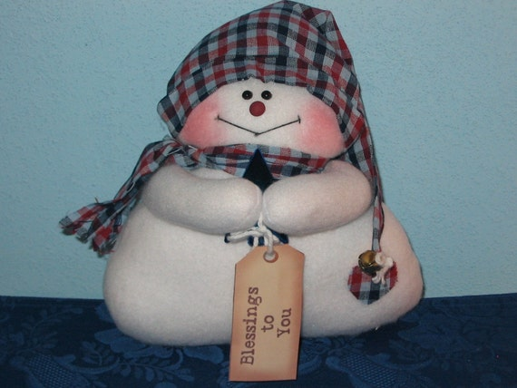 Handmade Frosty Flakes Snowman Doll Holding a Star