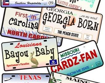 License Plate Designs, Custom License Plate, baby keepsake, baby bodysuit, New baby gift, shower gift