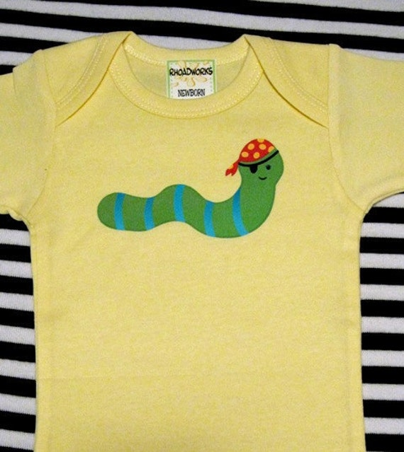 Pirate Worm Bodysuit/Baby Clothes/Baby Boys' Bodysuit/Baby Girls' Bodysuit/Baby Shower Gift/Toddler tee shirt