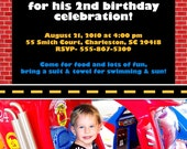 Fire Engine / Fire Station Birthday Party Invitation
