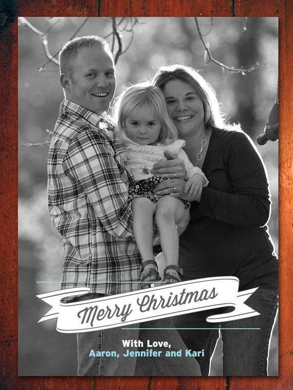 Ribbon Christmas Card - Vintage Holiday Card - Retro Cards (DIY Printable Digital File OR Printed Cards)
