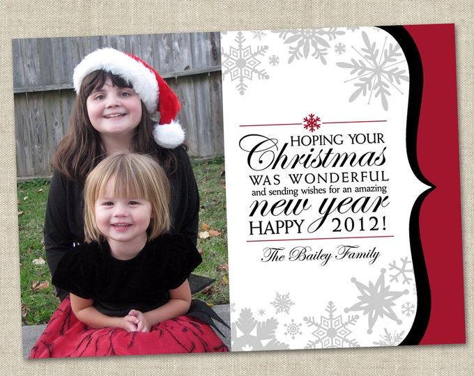 New Years Photo Holiday Card - Printable Digital File