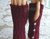 Fingerless Gloves, deep red, Heart Buttons