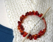 Shawl Pin or Cowl pin, Wire wrapped, vibrant Orange colors