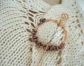 Shawl pin, Cowl pin, Scarf pin, Lavendar glass beads, copper wire, spcwlav2