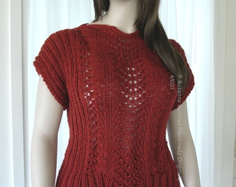 Pullover Lace Top, Spring Wear, Cropped Sweater, Short Sleeve Sweater, Hand Knitted Deep Rust Sweater, Summer Sweater, Knit wear