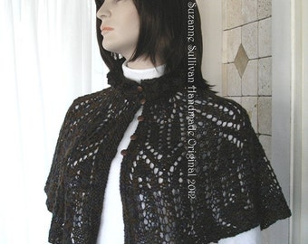 Beaded Lace Cape, Knitted Capelet, Jewel Tone Capelet, Beaded Capelet, Button Front Cape, Cape, Capelet, Womans Winter Fashion