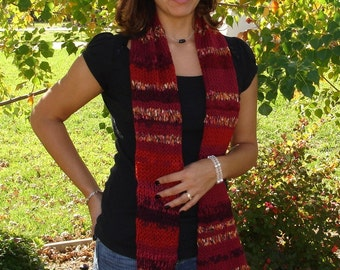 Hand Knitted Scarf, Autumn Scarf,  Potpourri of Texture and color