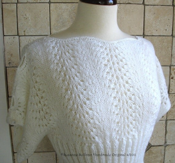 Knitting Pattern For Lace Top : PDF Knitting pattern, Pullover Top, Knitted Lace Top from SuzanneSullivan on ...