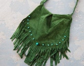 Forest Green Suede, Turquoise and Fringe Slouch Purse - Modern Pocahontas Collection