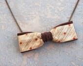 Bow Tie Necklace - Brown, Cream and Orange Diamonds Silk