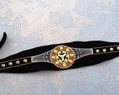 Obi Belt - Black Velvet Art Deco Hand Embellished