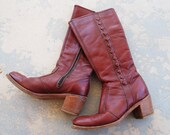 vintage 70s Campus Boots - Knee High Burgundy Leather Boots Sz 7.5