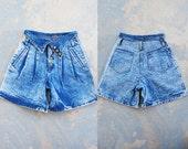 vintage High Waist Shorts - 80s Acid Wash Denim Fold Over Jean Shorts Sz S