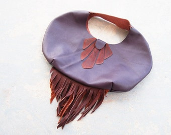 Tribal Leather Bag - Oversized Purple with Fringe - Modern Pocahontas Collection