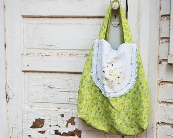 Oversized Tote Bag - Lime Green Floral Bag- Reclaimed Vintage Textiles