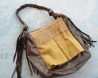 Leather Purse - Bronze Leather Textured Shoulder Bag