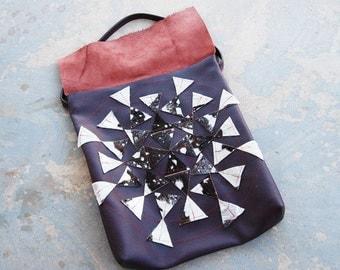 Geometric Leather Purse - Purple Starburst - Modern Pocahontas Collection