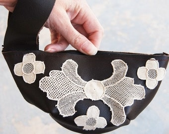 Leather Wristlet - Rustic Leather and Lace - Limited Edition