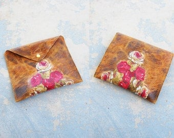 Boho Leather Clutch - Brown Leather Bag - Flower Applique Evelope Clutch